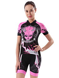 cheap -cheji® Women's Short Sleeve Cycling Jersey with Shorts Pink Bike Clothing Suit 3D Pad Quick Dry Sports Painting Mountain Bike MTB Road Bike Cycling Clothing Apparel