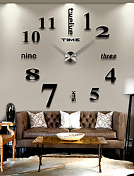 cheap -Modern Contemporary Stainless Steel / EVA Round Romance Indoor / Outdoor AAA Decoration Wall Clock Digital Brushed Steel No 120*120cm