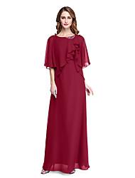 cheap -Sheath / Column Jewel Neck Floor Length Chiffon Half Sleeve Open Back / Elegant Mother of the Bride Dress with Beading / Pleats / Ruffle 2020 / Poet Sleeve