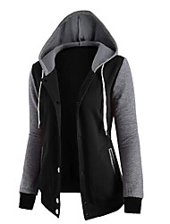 cheap -Women's Going out Cotton Hoodie - Solid Colored Black M / Fall / Winter / Sporty Look