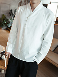 cheap -Men's Daily Chinoiserie Plus Size Cotton Shirt - Solid Colored V Neck Black / Long Sleeve