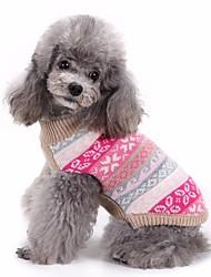 cheap -Dog Sweater Christmas Winter Dog Clothes Fuchsia Costume Cotton Stripes Keep Warm XXS XS S M L XL