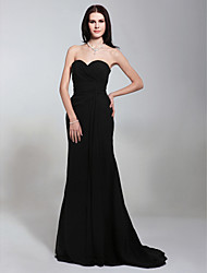 cheap -Mermaid / Trumpet Strapless Sweep / Brush Train Chiffon Open Back / Celebrity Style Formal Evening Dress with Criss Cross by TS Couture®