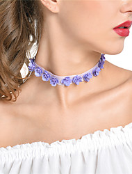 cheap -Women's Choker Necklace Chain Necklace Flower Ladies Flannelette Alloy Purple Necklace Jewelry For Party Daily