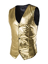 cheap -Men's Party / Going out Summer / Fall Regular Vest, Solid Colored V Neck Sleeveless Cotton Gold / Black / Silver / Slim