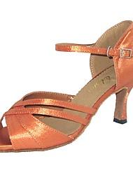 cheap -Women's Latin Shoes Satin Buckle Sandal Customized Heel Dance Shoes Black / Almond / White / Indoor / EU39