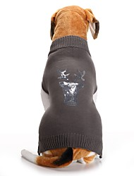 cheap -Cat Dog Coat Sweater Winter Dog Clothes Gray Costume Spandex Cotton / Linen Blend Reindeer Party Cosplay Casual / Daily XXS XS S M L XL