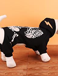cheap -Dog Costume Coat Sweatshirt Winter Dog Clothes Black Red Costume Terylene Skull Party Cosplay Halloween XS S M L XL