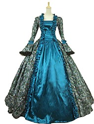 cheap -Cinderella Goddess Rococo Medieval Renaissance Cosplay Costume Masquerade Women's Satin Costume Blue Vintage Cosplay Party Prom Ball Gown Plus Size Customized / Dress / Dress