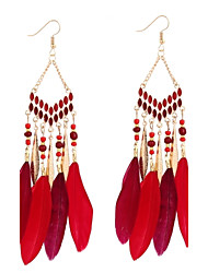 cheap -Women's Hoop Earrings Geometrical Feather Ladies Bohemian Fashion Boho Native American Feather Earrings Jewelry Red / Blue / Rainbow For Casual Evening Party