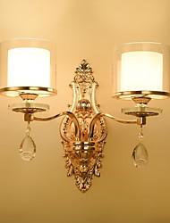 cheap -Crystal Wall Lights 2pcs E14 40W/ Traditional / Classic Wall Lamps & Sconces Metal Wall Light 220-240V