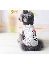 cheap -Dog Jumpsuit Dog Clothes Stripes Gray Stripe Cotton Costume For Spring &  Fall Winter Men's Women's Casual / Daily