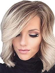 cheap -Synthetic Wig Curly Wavy Natural Wave Curly With Bangs Wig Blonde Short Blonde Synthetic Hair Women's Ombre Hair Highlighted / Balayage Hair Side Part Blonde