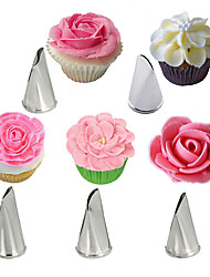 cheap -5Pcs Rose Petal Stainless Steel Cream Tips Cake Icing Piping Nozzles Cupcake Pastry Decorating Tools
