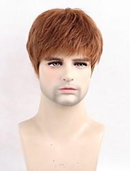 Недорогие -Человеческие волосы Парик Короткие Прямой Короткие Прически 2020 Прямой силуэт Боковая часть Машинное плетение Муж. Черный Medium Auburn