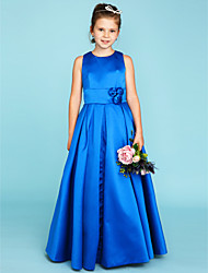 cheap -Princess / A-Line Jewel Neck Floor Length Satin Junior Bridesmaid Dress with Sash / Ribbon / Flower / Wedding Party / Natural