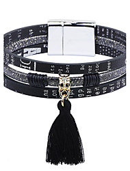 cheap -Women's Leather Bracelet Tassel Simple Style Fashion Leather Bracelet Jewelry White / Black For Casual Going out