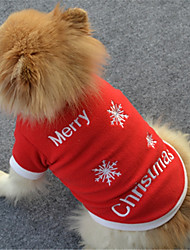 cheap -Dog Sweater Sweatshirt Christmas Winter Dog Clothes Warm White Red Costume Polar Fleece Snowflake Casual / Daily XS S M L