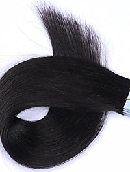 cheap -Tape In Human Hair Extensions Straight Human Hair Human Hair Extensions Women's Natural Black