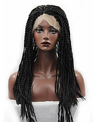 cheap -Synthetic Lace Front Wig Curly Afro Curly Afro Lace Front Wig Long Natural Black Synthetic Hair Women's African American Wig Braided Wig Plait Hair Black