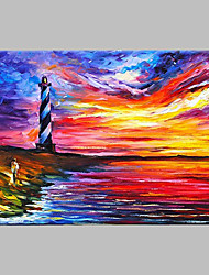 cheap -Hand-Painted Landscape Horizontal Panoramic,Artistic Nature Inspired Outdoor One Panel Canvas Oil Painting For Home Decoration