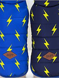 abordables -Chien Gilet Hiver Vêtements pour Chien Bleu marine Bleu Costume Coton Géométrique Garder au chaud S M L XL XXL