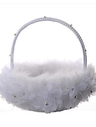 "cheap -Flower Basket Satin 9"" (23 cm) Feather / Lace 1 pcs"