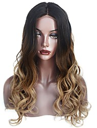 cheap -Human Hair Glueless Full Lace Full Lace Wig Beyonce style Brazilian Hair Body Wave Ombre Wig 130% Density with Baby Hair Ombre Hair Natural Hairline Glueless Women's Medium Length Long Human Hair
