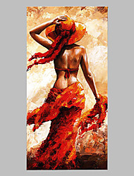 cheap -Hand-Painted People Vertical Panoramic,Artistic Abstract Cool One Panel Canvas Oil Painting For Home Decoration With Stretched Frame or Rolled Without Frame