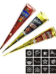 cheap -3 pcs Henna Cones Henna Stencils Temporary Tattoos Non Toxic Tribal Body Arts Face Hand Shoulder