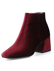 cheap -Women's Boots Plus Size Flare Heel Square Toe Casual Vintage Daily Office & Career Solid Colored Velvet Booties / Ankle Boots Winter Wine Almond Black / EU42