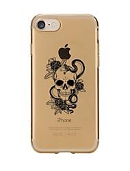 Недорогие -Кейс для Назначение Apple iPhone 7 Plus / iPhone 7 / iPhone 6s Plus Прозрачный / С узором Кейс на заднюю панель Черепа Мягкий ТПУ