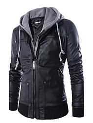 cheap -Men's Daily / Weekend Simple / Casual Winter Regular Leather Jacket, Solid Colored / Color Block Hooded Long Sleeve PU Black