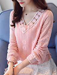 cheap -Women's Daily Work Weekend T-shirt - Solid Colored Dusty Rose V Neck White / Spring / Fall