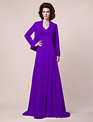 cheap -A-Line Mother of the Bride Dress Wrap Included V Neck Sweep / Brush Train Chiffon Satin Long Sleeve with Beading Draping Side Draping 2020