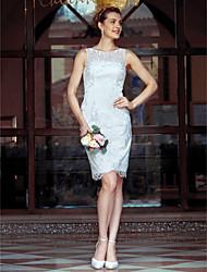 cheap -Sheath / Column Wedding Dresses Bateau Neck Knee Length Metallic Lace Sleeveless Little White Dress See-Through with Lace 2020