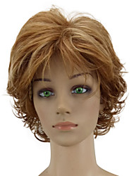 cheap -Synthetic Wig Curly Curly Layered Haircut Wig Short Golden Brown Synthetic Hair Women's Highlighted / Balayage Hair Brown hairjoy