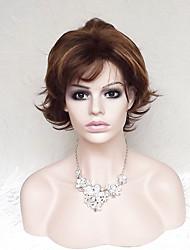 cheap -Synthetic Wig Wavy Natural Wave Natural Wave Wavy Bob With Bangs Wig Short Dark Auburn Synthetic Hair Women's Brown