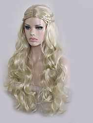 cheap -Synthetic Wig Wavy Wavy Wig Blonde Long Blonde Synthetic Hair Women's Middle Part Plait Hair Blonde