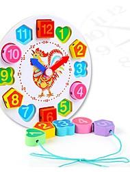 Недорогие -Игрушки для обучения математике Деревянные часы Часы обучения времени Цыпленок Часы Своими руками Образование деревянный 1 pcs Универсальные Игрушки Подарок