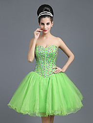 cheap -A-Line Homecoming Cocktail Party Dress Strapless Sleeveless Short / Mini Tulle with Crystals Draping 2020