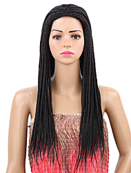 cheap -Synthetic Wig Afro Afro Wig Long Natural Black Synthetic Hair Women's Braided Wig Black