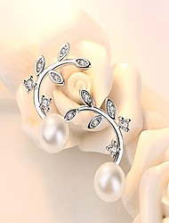 cheap -Women's Pearl AAA Cubic Zirconia Stud Earrings Leaf Dainty Ladies Fashion Pearl Sterling Silver Earrings Jewelry White and Sliver For Daily Work
