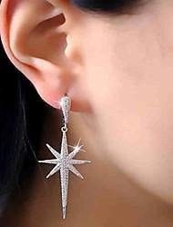 cheap -Women's AAA Cubic Zirconia Stud Earrings Drop Earrings Long Star North Star Ladies Luxury Fashion Stainless Steel Zircon Earrings Jewelry Silver For Party Gift