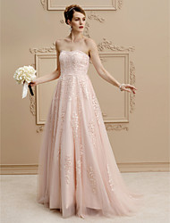 cheap -A-Line Wedding Dresses Strapless Sweep / Brush Train Lace Tulle Strapless Romantic Plus Size Backless with Buttons Beading Appliques 2021