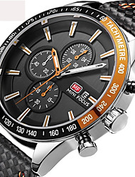 cheap -Men's Sport Watch Military Watch Wrist Watch Quartz Charm Water Resistant / Waterproof Calendar / date / day Chronograph Analog Black Red Blue / Two Years / Stainless Steel / Genuine Leather