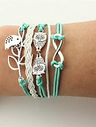cheap -Men's Women's Wrap Bracelet Leather Bracelet Owl Infinity Vintage Bohemian Fashion Leather Bracelet Jewelry Green For Party Birthday Gift