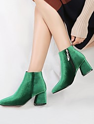 cheap -Women's Boots Velvet Boots Chunky Heel Square Toe Zipper Velvet Booties / Ankle Boots Comfort / Fashion Boots Spring / Fall Green / Wine / Almond / Wedding / Party & Evening / EU42
