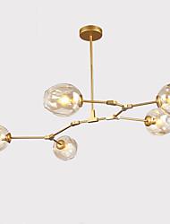Недорогие -северная Европа старинная люстра 5-голова стеклянные молекулы подвесные светильники гостиная спальня столовая окрашенная отделка