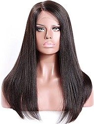 cheap -Virgin Human Hair Glueless Lace Front Lace Front Wig Free Part style Brazilian Hair Yaki Yaki Straight Wig 130% 150% 180% Density with Baby Hair Natural Hairline For Black Women Unprocessed Bleached